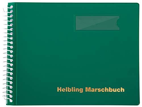 Helbling BMG15 Marschbuch (Notenbuch mit 15 blendfreien Klarsichthüllen, Umschlag aus flexiblem Kunststoff, bruchsichere Spiralbindung, wetterfest, Querformat: 18 x 14 cm) grün