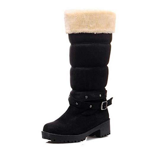 Winter Frauen Stiefel Halbquadrat Kurze Absätze verdicken Fell Warm Mitte Kalb Schuhe für Outdoor-Walking Mode Damen