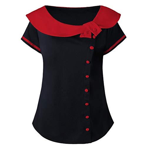 Women Plus Size Sailor Collar Top Short Sleeve Decor Button Striped Shirt XL-5XL Red