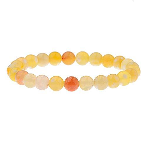 ZMMZYY Stone Bracelet, natürlicher Turmalin Stein hell-gelb Armbänder für Frauen Yoga Charme Stretch runde Wulst Zubehör 8 Mm