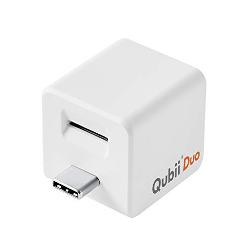 Qubii Duo USB-C Photo Storage Device for iPhone & Android Type-C Phone, Auto Backup Photos & Videos [microSD Card Not Included]- White