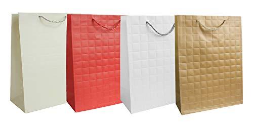 Emartbuy Set di 4 Lusso Sacchetto Regalo Carta Laminata Forte Opaco Colori Misti 30 x 41.5 x 12 cm - Rosso, Oro, Bianco e Crema