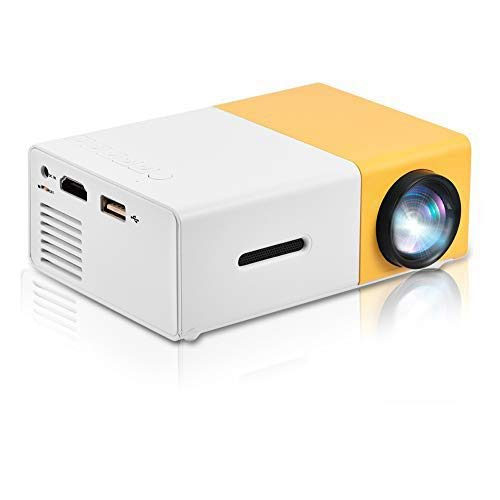 fosa Mini LED Projector, Mini Private Home Theater Portable LED Projector Support 1080P HD HDMI Multimedia Player Clear Stereo Sound for Outdoor Recreation, Entertainment Venues(White + Yellow)