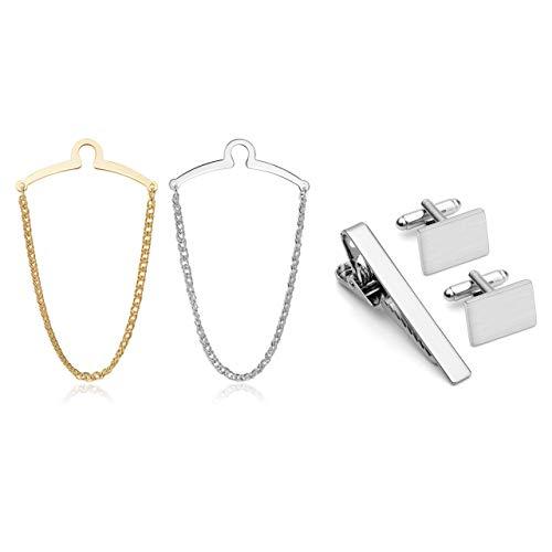 JOVIVI Bundle - 2pcs Set Men's Silver Golden Necktie Tie Clips Link Chain Cravat Collar Pins Brooch + 3pcs Exquisite GQ High Grade Stainless Steel Cufflinks and Tie Clip Bar Set w/Box
