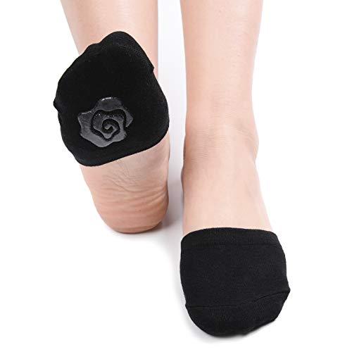 Zeltauto Damen's Zehlinge Füßlinge Socken Unsichtbare Zehensocken mit Rutschfest Silkon, 6 Paar (6 Schwarz, 36-38.5 EU)