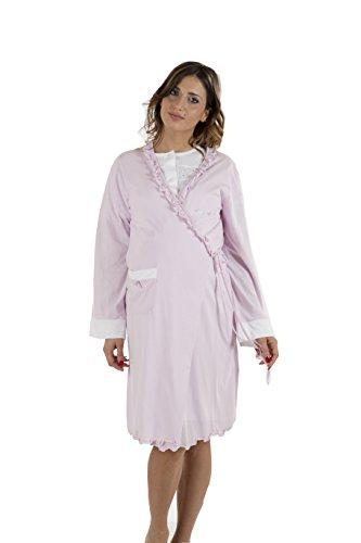 Premamy - Bata para Maternidad, Modelo de Frente Abierto, Jersey algodón, pre-Post-Parto - Lila - Vi (XL)