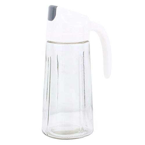 SALALIS Dispensador de latas de Aceite de Oliva, Botellas de vinagre para Salsa de Vidrio Botella para aderezo para ensaladas Ergonómico sin Goteo con Mango Curvo para fácil Recarga(Blanco)
