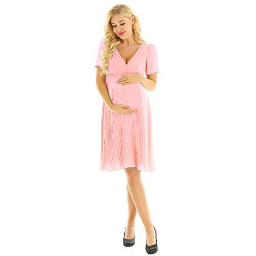 dPois Damen Umstandskleid Festliches Kleid aus Chiffon Faltenkleid Kurzarm Rückenfrei Abendkleid...