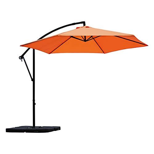 Sekey Ampelschirm 300 cm Sonnenschirm Gartenschirm Kurbelschirm mit Kurbelvorrichtung Sonnenschutz UV50+ (Orange)
