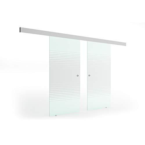 Glas Schiebetür 205x205 cm Dessin. Lamelle (L) Levidor® EasySlide-System komplett Laufschiene und Muschelgriffe Schiebetür aus Glas-Scheiben für Innenbereich ESG-Sicherheitsglas