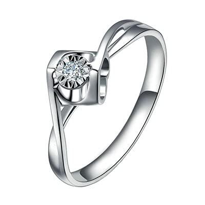 Bishilin Anillos de Boda Oro Blanco 750, Flor Diseño 0.14ct Rojoondo Blanco Diamante Anillo de Compromiso de Matrimonio Regalos para Cumpleaños Navidad Oro Blancotamaño: 25