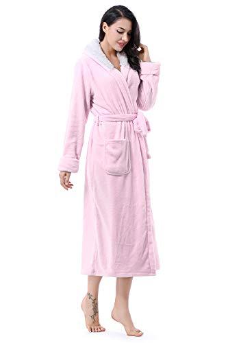 Kato Tirrinia Damen Bademantel mit Kapuze Mantel Lang Morgenmantel Frottee Kuschelfleece, Flauschig und Superweich Kapuzen Robe, Rosa