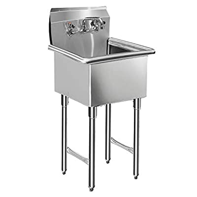 Commercial Kitchen Sink with Faucet and Legs - KITMA 1 Compartment NSF Commercial kitchen Prep & Utility Sink, Stainless Steel Commercial Hand Wash Sink for Restaurant