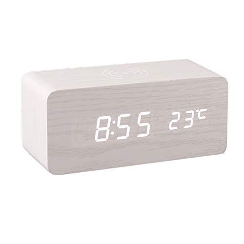 non_brand Reloj Despertador Digital Y Pantalla LED Electrónica de Madera con Detección de Temperatura - Blanco, Individual