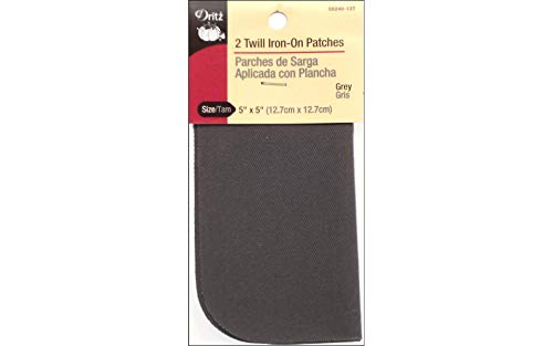 Dritz 55240-13T Patches, Iron-On, Twill, Grey, 5 x 5-Inch (2-Count)