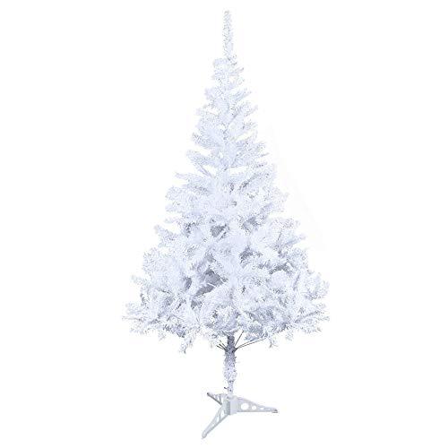 Clanmacy Albero di Natale Artificiale, 120CM 200 Rami PVC Abete Natale Bianco con Supporto