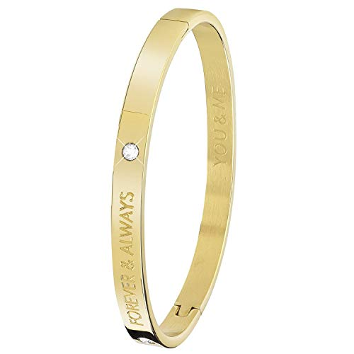 Guess - Vergoldeter Bangle-Stahlarmreif Text : Forever. - für Damen - Gold