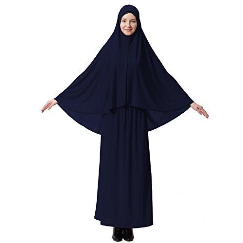 Hougood Abaya Muslim Damen Muslimische Kleider Islamische Kleidung Zweiteiler in voller Länge Hijab Kleid Robe Anzug Abaya Schal Kleid Robe Kleid Gebet Kleid Top und Dress Sets Stil A