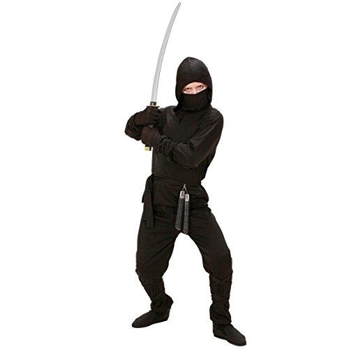 NET TOYS Déguisement Enfant Ninja déguisement Enfant Guerrier samouraï Combattant déguisement Ninja Noir L 156 cm 11-13 Ans