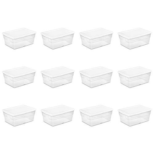 Sterilite 16448012 16 Quart15 Liter Storage Box White Lid with Clear Base 12-Pack