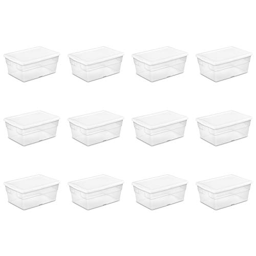 Sterilite 16448012 16 Quart/15 Liter Storage Box, White Lid with Clear Base, 12-Pack