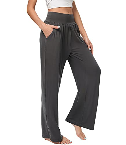 ASIMOON Yoga Pants for Women High Waist Wide Leg Sweatpants Womens Lounge Workout Pants with Pockets Dark Grey
