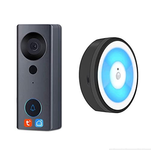 ZCZZ Smart Life WiFi Video Doorbell, Night Light, 1080P Visual Door Video Intercom Camera Funciona con Alexa y Google Assistant, con 2 timbres