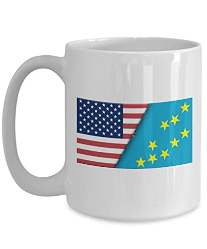 Weiße Kaffeetasse mit USA-Tuvalu-Flagge