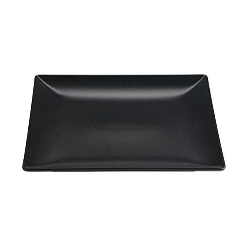 Visiodirect Lot de 6 Assiettes carrées en grès Noir - 18 x 18 cm