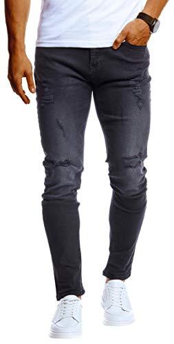 Leif Nelson Herren Jeans Hose Slim Fit Denim Blaue graue Lange Jeanshose für Männer Coole Jungen weiße Stretch Freizeithose Schwarze Cargo Chino Sommer Winter Basic LN9150 Schwarz W31/L32