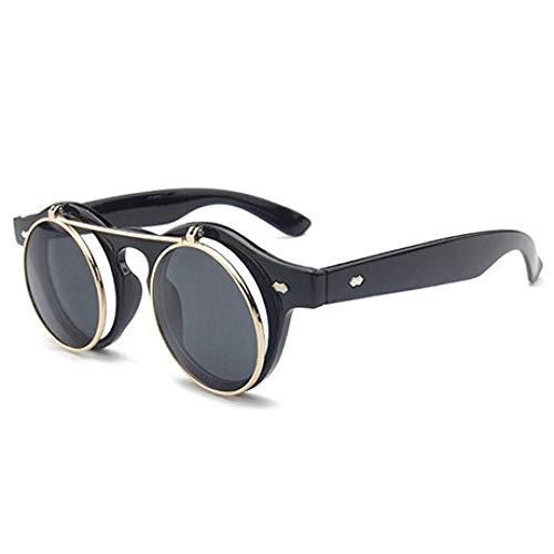 Modische Sonnenbrille Sonnenbrille Frauen Männer Square Double Flip Lens Cover Punk Sonnenbrille Clear Hd Black