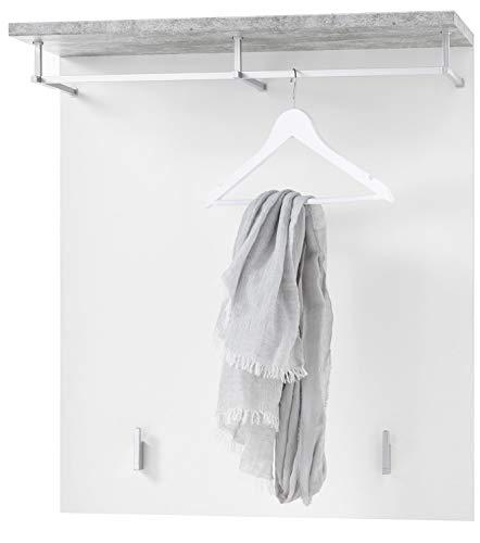 Garderobenpaneel - Weiß matt - Betondekor - 79 x 85 cm - mit Kleiderstange