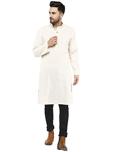 SKAVIJ Men's Tunic Cotton Long Kurta Casual Shirt Regular Fit (Large,...