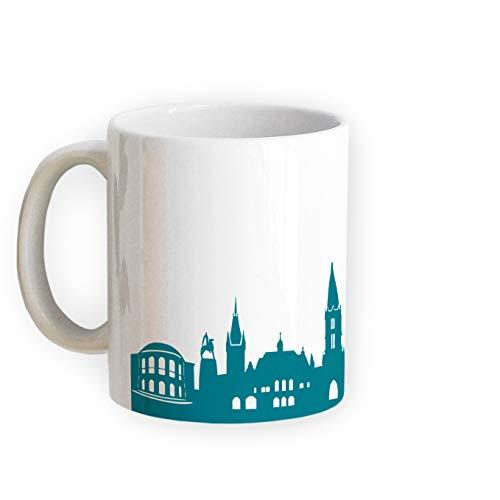 Tasse Freiburg Skyline - Bürotasse Kaffeebecher Städtetasse 5 Farben - Personalisierte Geschenkidee für Freiburger & Fans, Umzug Richtfest Architekt