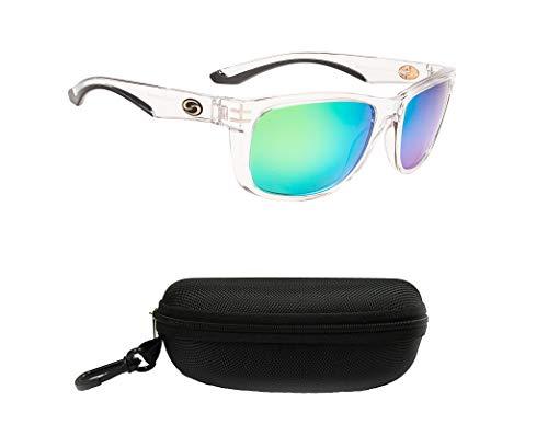Strike King S11 Cumberland Polarized Sunglasses, UVA/UVB Protection, Shiny Crystal Frame, Multi-Layer Green Mirror Amber Base Lens with Black Case