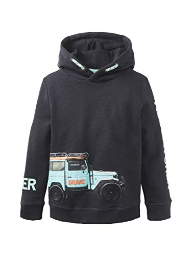 TOM TAILOR Jungen Strick & Sweatshirts Hoodie mit Print Dark Navy|Blue,116/122,K3190,6000