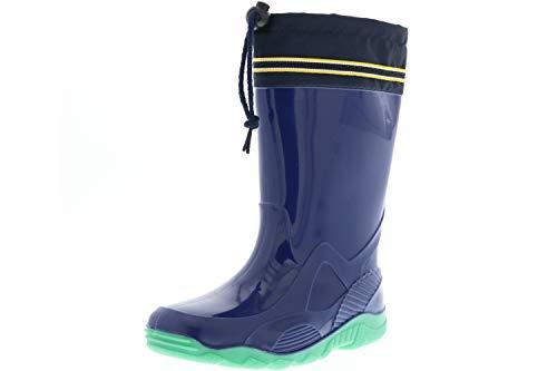 G&G Kinder Mädchen Jungen wasserdichte Gummistiefel Regenschuhe blau, Farbe:Blau, Größe:34