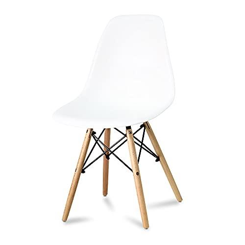 Der weiße Stuhl auf Buchenbeinen. Für das Esszimmer, die Küche, das Wohnzimmer. Skandinavischer Stil. Modernes YA-01