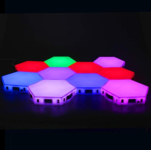 Hexagon Led Lights Upgrade (5 Inch) RGB Colors Honeycomb Wall Lights (10pcs) DIY Modular Touch Lamp Quantum Night Light for Home Office Hotel Bar Festive Gift