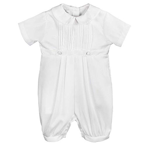 Petit Ami Baby Boys' Pique Christening Knicker with Hat, 6 Months, White