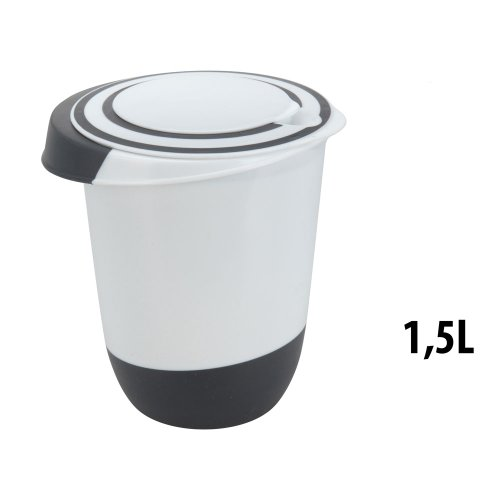 Rührschüssel mit Deckel 1,5 Liter Rühröffnung Stoppboden Spritzschutz Schüssel 1,5L Frischhaltedose Weiss schwarz