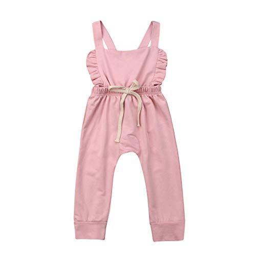LEXUPE Neugeborenes Baby Backless gestreifte Rüschen-Spielanzug-Overall-Overall-Kleidung(Rosa,90)