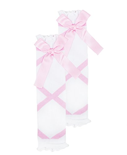 RuffleButts Little Girls Pink and White Ballet Bow Leg Warmers - One Size