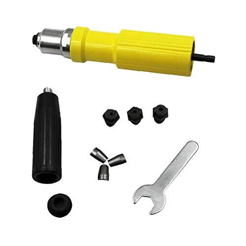 AAGOOD Elektrische Rivet Gun Kopf Nieteneinschlägers Nuss Pistole für schnurlose elektrische Bohrmaschine Riveting Adapter Nietwerkzeug Gelb 1 Set