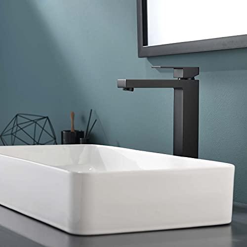 TIMACO Schwarz Waschtischarmatur Hohe Qualität Wasserhahn Bad Mischbatterie Badarmatur Hoch Waschbeckenarmatur für Bad,Modernes Design