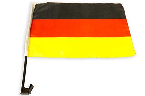 Autofahne Deutschland – Auto-Fenster Fahne Germany – 45 cm x 30 cm - Schwarz Rot Gold -Fanartikel