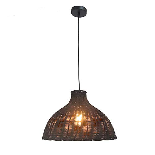 JW DIY Wicker Rattan Lampshades Pendant Light Natural Bamboo Hanging Lamp Hand-Woven Vintage Creative Antique E27 Height Adjustable Porch Dining Table Cafe Kitchen Wood Ceiling Lamps