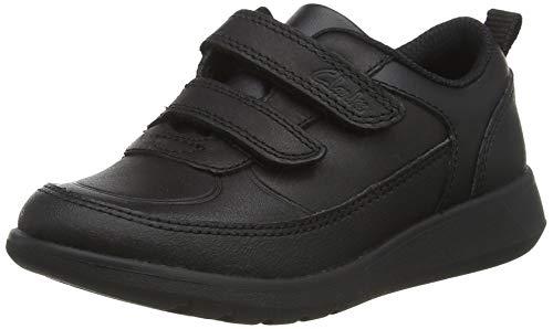 Clarks Scape Flare T, Zapatos de Vestir par Uniforme, Piel Negra, 24 EU