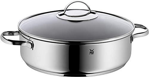 WMF stoofpan 28 cm met deksel, stoofpan 5,0 l, Cromargan roestvrij staal gecoat, geschikt voor de oven, grote pan, hoge rand, inductie, PFOA-vrij
