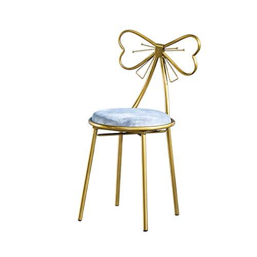 Chambre à Coucher Coiffeuse Tabouret, Déesse Décoration Chaise Longue en métal Art de Fer Chaise de Salle à Manger Noeud Papillon Fauteuil Décoration Meubles 45 CM,D